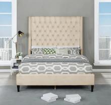 Best Master B1930-CR Red barrel studio linnetta cream velvet fabric diamond tufted queen bed set