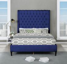 Best Master B1930-BL Red barrel studio linnetta blue velvet fabric diamond tufted queen bed set