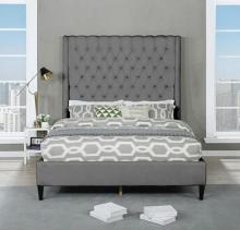 Best Master B1930-GY Red barrel studio linnetta grey velvet fabric diamond tufted queen bed set
