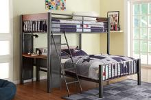 B2008TF-1 Harriett bee twyla graphite finish metal Twin over Full bunk bed with workstation