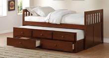 B2013PRDC-1 Harriet bee riley captains mission style dark cherry finish wood twin size bed with storage trundle bed