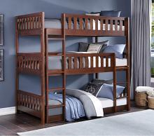 B2013TTTDC-1 Harriett bee lomas dark cherry finish wood triple twin over twin over twin bunk bed set