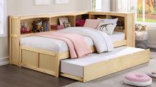 B2043BC-1BCR Harriett bee frankie natural pine finish wood corner bookcase twin bed with trundle