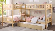 B2043CN-1R Mack & Milo orion quadruple twin bed twin/twin over twin/twin natural pine finish wood bunk bed