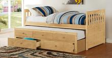 B2043PR-1 Harriet bee riley captains mission style natural pine finish wood twin size bed with storage trundle bed