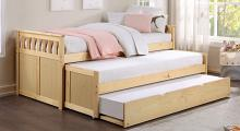 B2043RT-1R Darby home co orion natural pine finish wood day bed with double pull out trundle