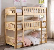B2043TTT-1 Harriett bee lomas natural pine finish wood triple twin over twin over twin bunk bed set