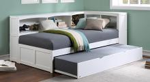B2053BCW-1BCR Harriett bee frankie white finish wood corner bookcase twin bed with trundle