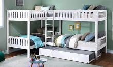 B2053CNW-1R Mack & Milo orion quadruple twin bed twin/twin over twin/twin white finish wood bunk bed