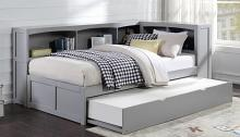 B2063BC-1BCR Harriett bee frankie grey finish wood corner bookcase twin bed with trundle