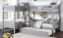B2063CN-1R Mack & Milo orion quadruple twin bed twin/twin over twin/twin gray finish wood bunk bed