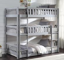 B2063TTTW-1 Harriett bee lomas gray finish wood triple twin over twin over twin bunk bed set
