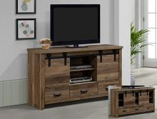 B3000-7 Darby home co calhoun natural rustic finish wood tv stand console with barn doors