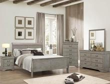 B3550 4 pc Louis Philip weathered gray finish wood sleigh queen bedroom set