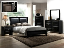 Crown Mark B4280-Q-5PC 5 pc emily ii collection black wood finish padded design headboard queen bedroom set