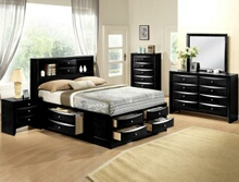 5 pc emily collection black wood finish design headboard queen bedroom set with storage drawers