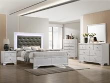 B4310 4 pc AJ homes Lyssa frost wood finish wood queen LED bedroom set