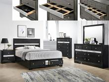 B4670 4 pc Regata black and silver finish wood queen storage bedroom set