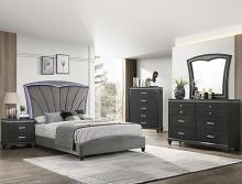 B4790 4 pc A & J homes studio frampton dark finish wood upholstered headboard design queen bedroom set