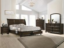 B6077 4 pc A & j designs studio lara dark wood finish wood queen bedroom set