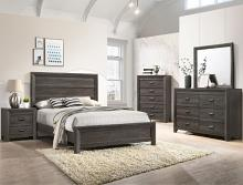 B6700 4 pc A & J Homes Studios adelaide gray panel look wood grain queen bedroom set
