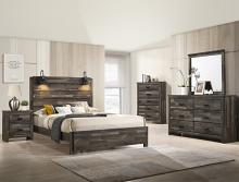 B6800 4 pc A & J homes studio Carter reclaimed grey weathered finish wood queen bedroom set