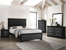 B6918 4 pc A & j designs studio amalia black wood finish wood queen bedroom set