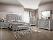 B7200 4 pc A & J homes studio vail metallic finish wood carved design queen bedroom set