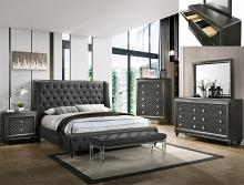 B7900 4 pc A & J homes studio giovani gray metallic finish wood carved design queen bedroom set