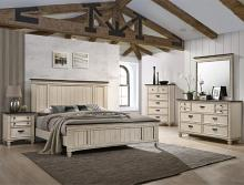 B9100 4 pc A & J homes studio sawyer rustic weathered finish wood queen bedroom set