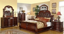 Mc Ferran B9505 5 pc Astoria grand garwood amber dark wood finish bonded leather tufted padded headboard sleigh style bedroom set