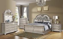 Mc Ferran B9506 5 pc Astoria grand morven antique platinum wood finish tufted padded headboard sleigh style bedroom set