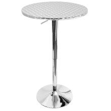 Lumisource BT-TLBISTRO23RN Bistro Height Adjustable Bar Contemporary Table - Round in Silver