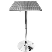 Bistro Height Adjustable Bar Contemporary Table - Square in Silver