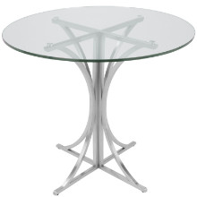 Boro Dining Contemporary Table in Clear and Silver