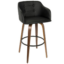 Bruno Mid-century Modern Barstool with Swivel in Walnut and Black