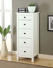 Launces collection contemporary style white finish wood storage chest with multiple drawers