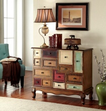 Desree collection vintage style antique walnut finish wood multiple drawer hall console table