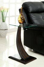 CM-AC151 Valon dark walnut finish curved wood and glass top side table