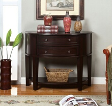 CM-AC211 Chanti espresso finish wood console table with 2 curved front drawers