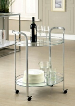 Furniture of america CM-AC228 Loule collection contemporary style chrome metal and glass tea serving cart with casters