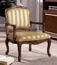 Burnaby collection transitional style antique oak finish wood padded accent chair with striped fabric upholstery