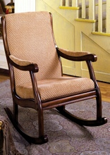 Liverpool collection classic style antique oak finish wood padded accent rocking chair with padded fabric upholstery