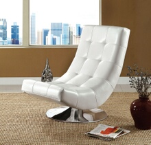 Trinidad contemporary style white leather like vinyl hammock style tufted swivel scoop chair with chrome base