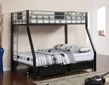 Clifton iv twin over full bunk bed two toned silver and black finish metal with built in ladder