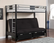 CM-BK1024 Clifton iii twin over futon base bunk bed two toned silver and black finish metal with built in ladder