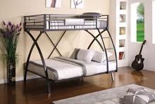 Apollo ii twin over full bunk bed set 2 - tone chrome and dark gray finish