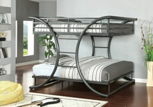 Furniture of america CM-BK1036GM Lexis collection gun metal grey metal finish construction full over full bunk bed
