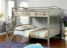Lovia collection metallic gold finish full over full convertible bunk bed set with clean straight lines design