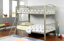 CM-BK1037T Lovia metallic gold finish twin over twin convertible bunk bed set with clean straight lines design